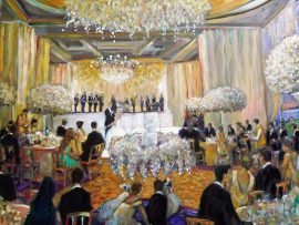 Calcagnie Reception (Studio)  Pelican Hill Newport Coast, Ca.  oil 30″ x 40″