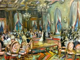 The Ewell Wedding  Jonathan Club  Los Angles Ca. oil 30″ x 40″ 9-12-15