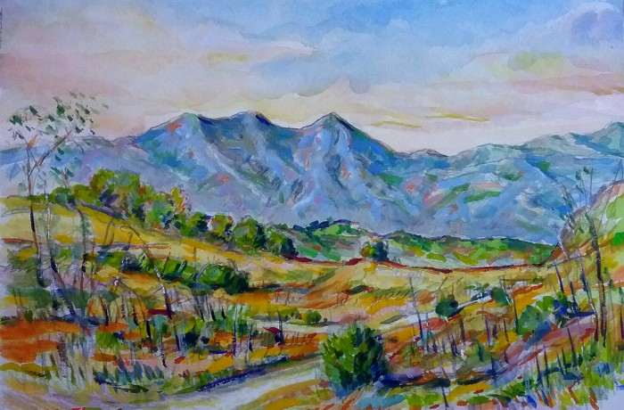 Saddle Back View San Juan Capistrano Ca.  water color 11″ x 15″ 9-16-15