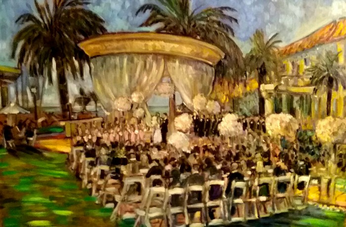 The Gross Wedding  St. Regis Resort Monarch Beach Ca.  oil 30″ x 40″ 9-26-15