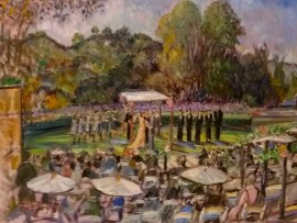 The Oster Wedding  American Jewish University Los Angles Ca.  oil 30″ x 40″ 10-11-15