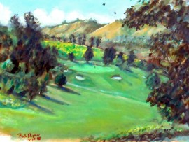 6TH HOLE  San Juan Hills Golf Course. San Juan Capistrano, Ca  water color  11″ x 15″