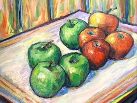 8 APPLES  OIL  12″ X 12″  9-7-19