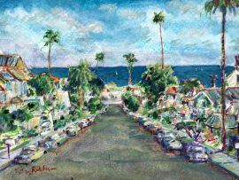 ALCAZAR DR.  DANA POINT CA.  WATERCOLOR  9″ X 11″ 7-29-2020