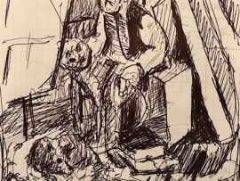 ARTIST & HIS DOG    INK SKETCH   9″ X 12″  1-19-2020