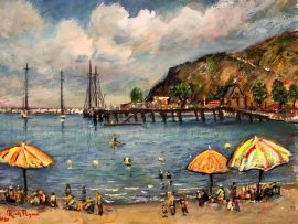 BABY BEACH   DANA POINT CA.  WATERCOLOR   11″ X 14″  FOR SALE OR PRINT  8-8-2020