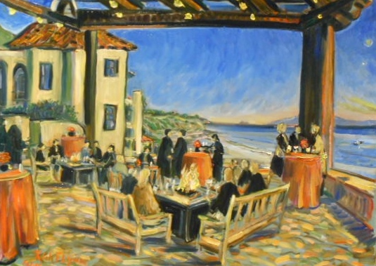 PARTY AT BACARA   Bacara Resort & Spa  Goleta, Ca  oil  30″ x 40″