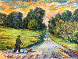 WALKING THE DOG   SAN JUAN CAPISTRANO CA.  WATERCOLOR / PASTEL  9″ X 12″  4-3-2020   SOLD