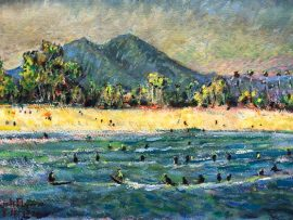 DOHENY STATE BEACH CA.   WATERCOLOR  14″ X 9″ FOR SALE  8-12-2020
