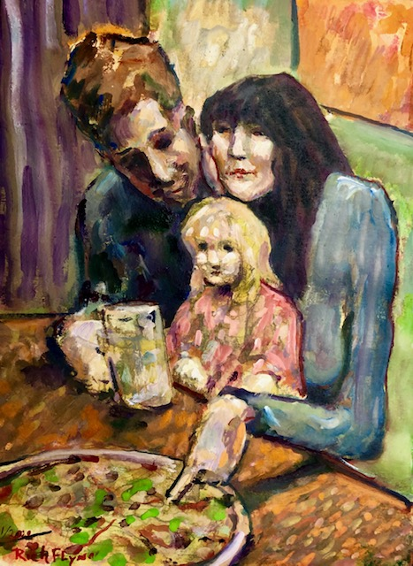 FAMILY FEAST   WATERCOLOR     9″ X 12″   1-4-2020