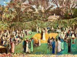 THE HEAP WEDDING RECEPTION    Rancho Santa Fe  Ca.  oil  30″ x 40″  4-24-2021