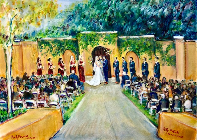 THE WEDDING CEREMONY OF KELLY & NICK  (FROM PHOTO'S)  WATERCOLOR  COMMISSIONED  12″ X 16″  1-13-2020