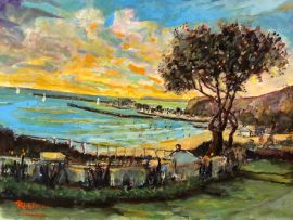 LOUISE LYDEN PARK  DANA POINT CA.   WATERCOLOR  12″ X 18″  1-13-2021
