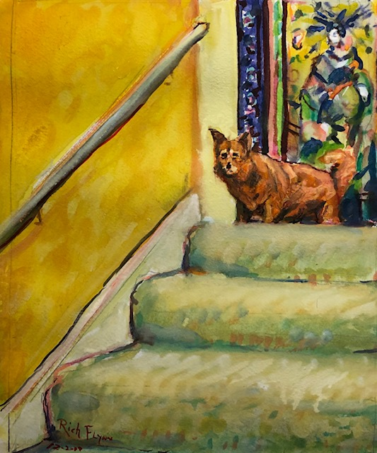 Molly Dog on the Stairs   watercolor    12″ x 14″ 12-19-19