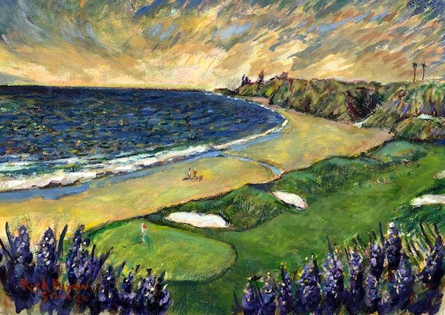 MONARCH BEACH  California     Watercolor   20″ x 14″  Commissioned    5-21-2020