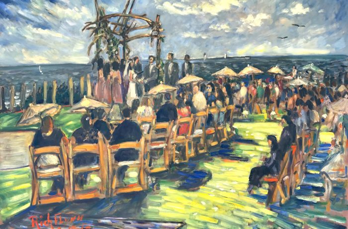THE ONDAATJE WEDDING CEREMONY   BEACH CLIFF VILLIA'S  SAN DIEGO Ca. oil 30″ x 40″ 8-19-17