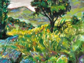 ORANGE TREE SAN JUAN CAPISTRANO CA.     WATERCOLOR / PASTELS 9″ X 12″  4-1-2020