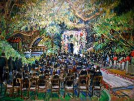 Gudai Wedding Ceremony  Hotel Bel Air Los Angeles Ca. oil 30″ x 40″