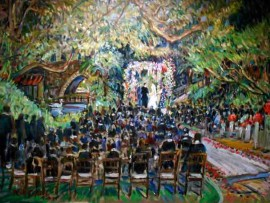 The Gudai Epstien Wedding Hotel Bel Air Los Angeles, Ca oil 30″ x 40″