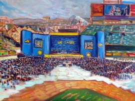 UC IRVINE COMMENCEMENT Featured speaker The President of the United States Barack Obama oil 30″ x 40″