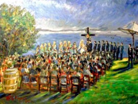 The Gilmore Klien Wedding Catalina View Gardans, Rancho Palos Verdes, Ca oil 30″ x 40′