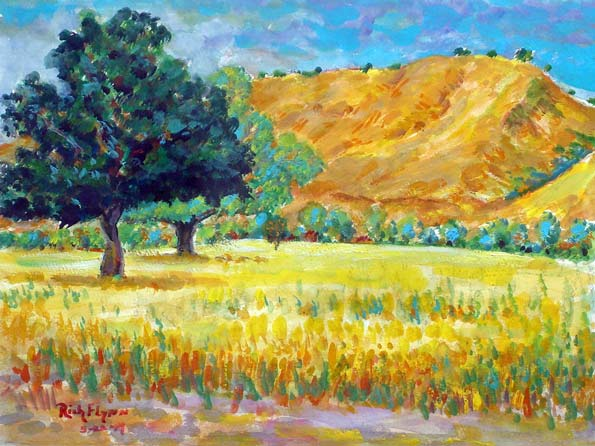 Oak & Hills in San Juan Capistrano, Ca water color 9″ x 12″