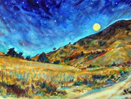 SUPER MOON San Juan Capistrano, Ca water color 14″ x 11″