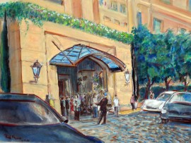 Peninsula Hotel  Beverly Hills ,Ca  water color 11″ x 15″
