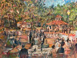 THE RESTELLI WEDDING RECEPTION  Rancho Los Lomas  Silverado Ca.   oil  30″ x 40″  7-18-2021