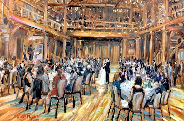 THE ROACH WEDDING RECEPTION    Sunriver Resort, Bend Oregon   oil  30″ x 40″  9-30-17