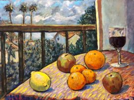 STILL LIFE  MALAGA DR. DANA POINT CA.   WATERCOLOR  12″ X 18″  1-10-2021