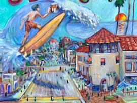 SURF CITY ALE HOUSE  HUNTINGTON BEACH CA.    Street Painting for the City of Huntington Beach   OIL   30″ X 40″  SOLD