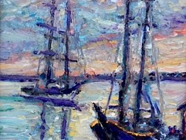 TWO TALL SHIPS  DANA POINT HARBOR CA.   OIL  8″ X 10″ 6-9-18
