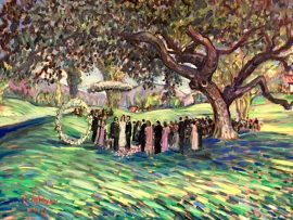 THE MARKAS – LEAVITT WEDDING CEREMONY  LIVE WEDDING PAINTING      OJAI VALLEY INN   oil  30″ x 40″  11-11-18