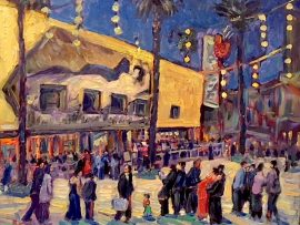 CAFE TU TU TANGO   CELEBRATING 20 YEARS  12-13-1998- 12-13-2018  OUTLETS OF ORANGE CA.  OIL 16″ X 20″
