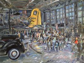 W.BROWN & ASSOCIATES 30TH ANNIVERSARY PARTY   LYON AIR MUSEUM  John Wayne Airport   30″ x 40′ oil   7-27-17