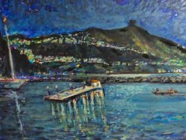 FULL MOON BAIT BARGE  DANA POINT HARBOR Ca.    WATERCOLOR  14″ X 14″ 12-11-19