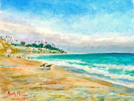 A BEACH DAY  San Clemente State Beach, Ca. watercolor 11″ x 15″ 10-11-16