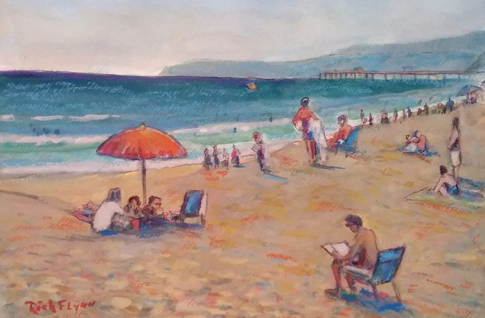 BEACHING DAY  watercolor mix media  14″ x 18″  8-16-16