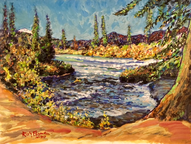 BENHAM FALLS  BEND OREGON  WATERCOLOR  12″ X 16″ 10-3-17