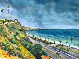CAPO BEACH  Ca,     WATERCOLOR  12″ X 9″  4-22-2020