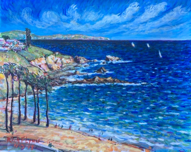 WINDY SHORE  CORONA DEL MAR    WATERCOLOR  16″ X 20″  4-5-18