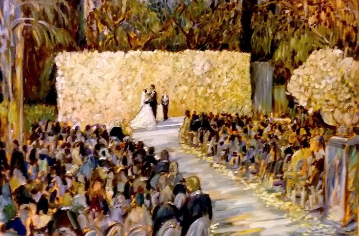 THE COHEN SMITH WEDDING CEREMONY    BEVERLY HILLS HOTEL  Ca.    oil 30″ x 40″  7-15-17