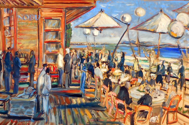 Christine's Birthday Party  Nobu Malibu, Ca oil  60″ x 40″