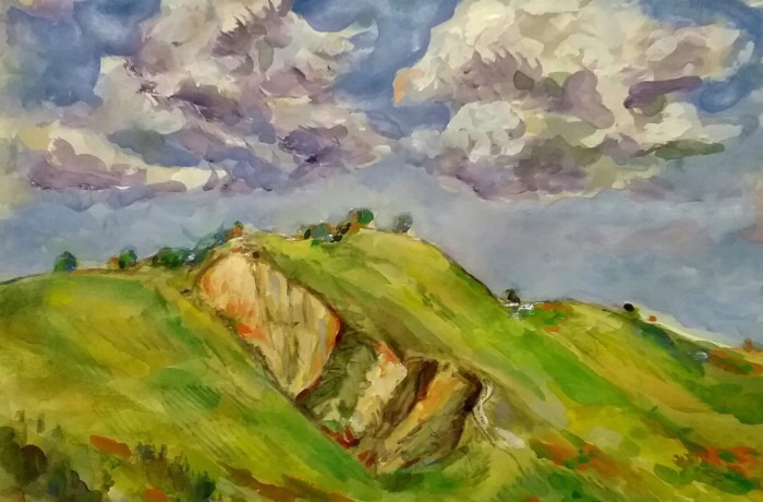 CLOUDS OVER SAN JUAN CAPISTRANO  water color 14″ x 16″ 3-29-16