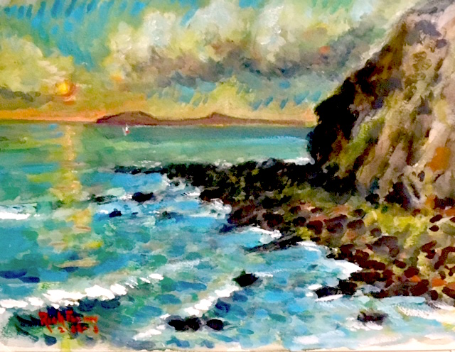 CLOUDY POINT  DANA POINT Ca.    watercolor   16″ x 12″  2-22-18