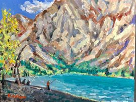 FISHING CONVICT LAKE IN THE FALL  OIL  12″ X 20″ 1-21-2020