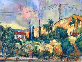 COUNTRY TIME  SAN JUAN CAPISTRANO CA.    Watercolor  12″ x 16″ 9-16-2021