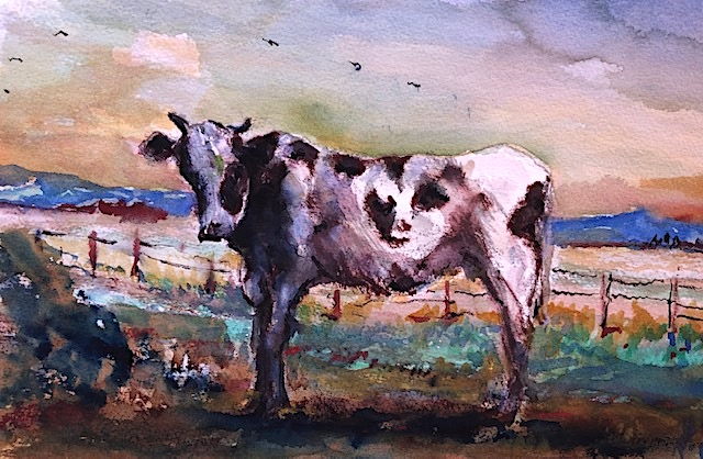 BARBARS'S COW  WATERCOLOR  12″ X 9″  COMMISSIONED  9-12-2021