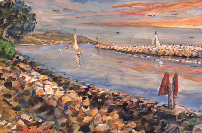 DANA POINT HARBOR    WATERCOLOR  12″ X 16″  8-16-17